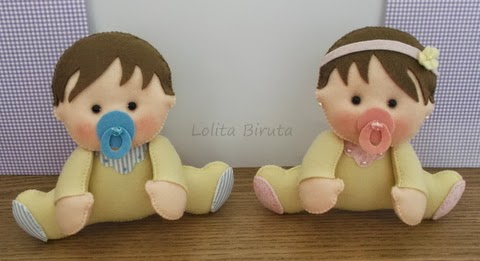Bebezinhos gêmeos em feltro