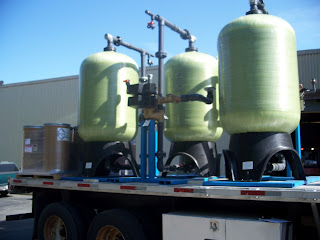 A triple dealkalizer system being prepared and about ready for shipment