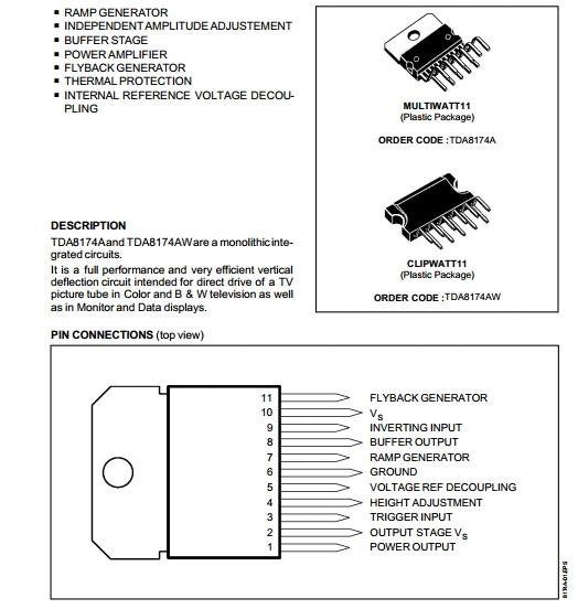 Skema Vertical Amp IC TDA 8174a/aw