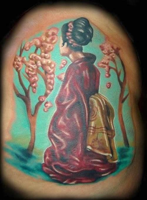 Tatuagem Gueixa com cores