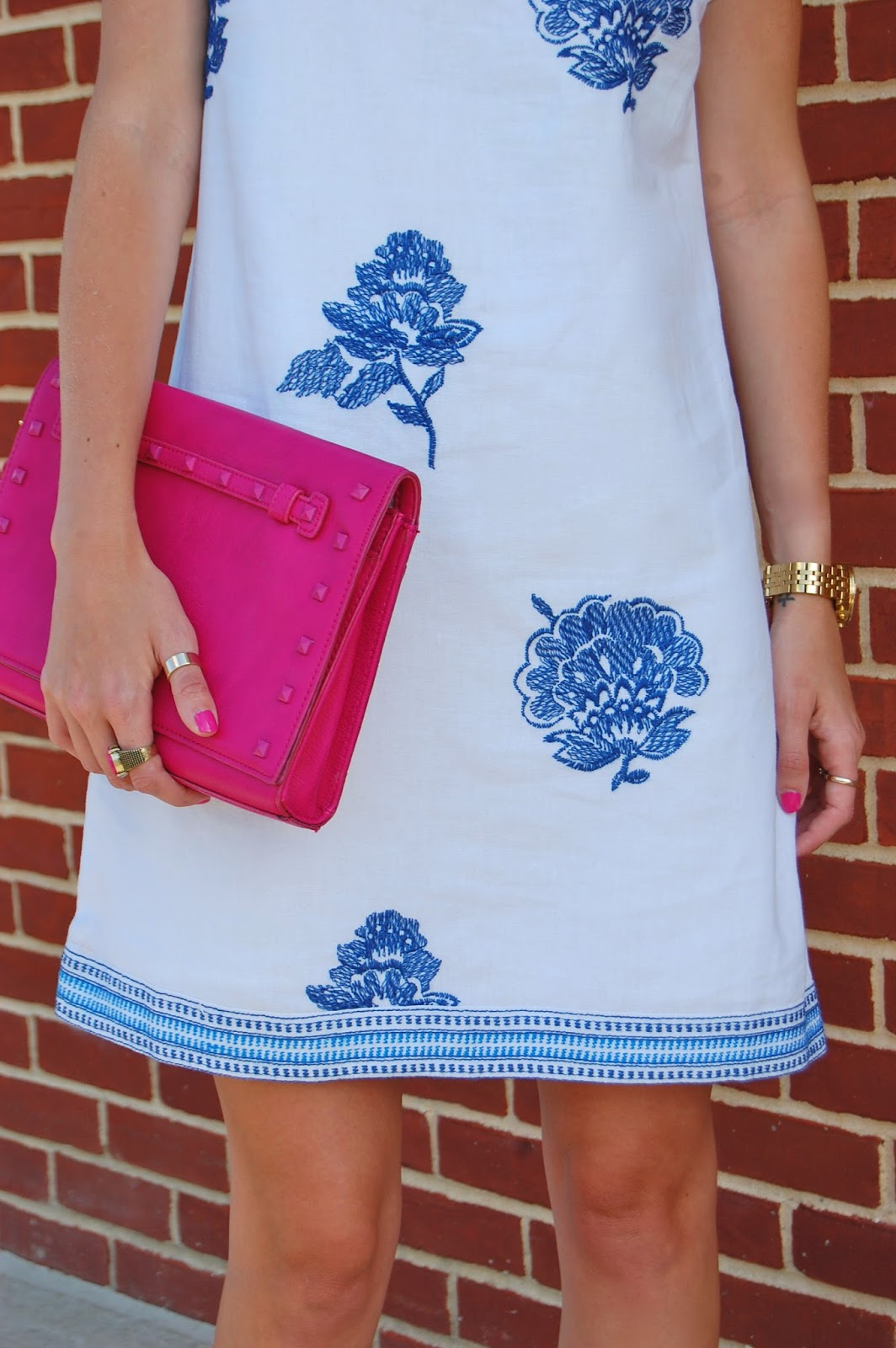 Wearing Old Navy Embroidered Linen Blend Shift Dress, Wearing Jcrew Studded Lace Up Gladiator Sandals, Neiman Marcus Pink Studded Tonal Clutch
