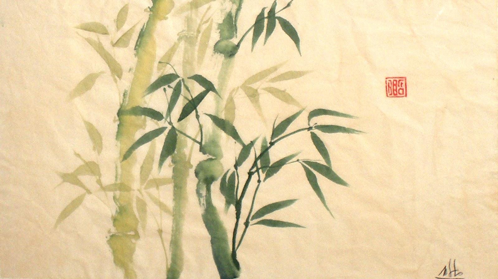 Bambú hecho en Pintura Japonesa