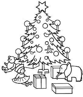 árbol de navidad colorear dibujo