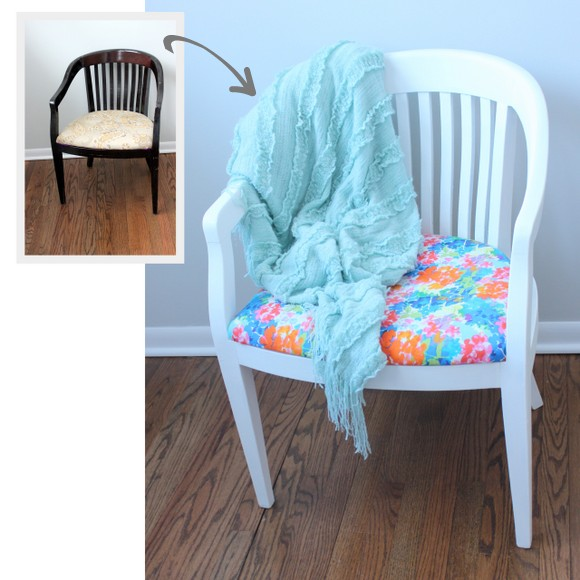 Before and After: Reupholstered Chair DIY using Milk Paint | DIY Playbook