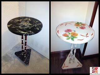 mesa auxiliar tuneada con pintura en spray