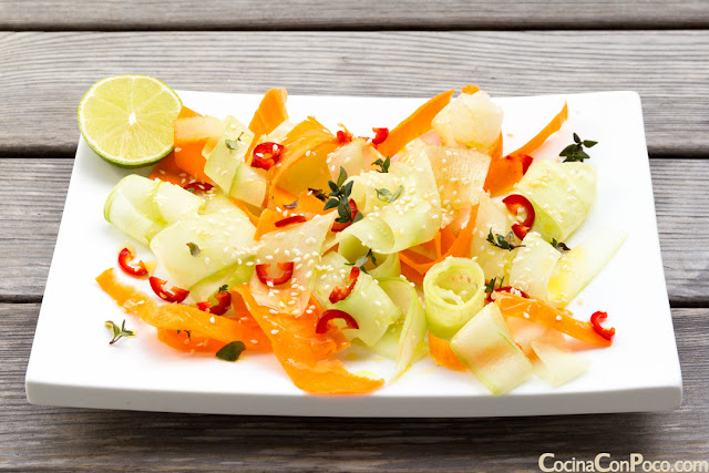 Ensalada de pepino y zanahoria - Receta facil