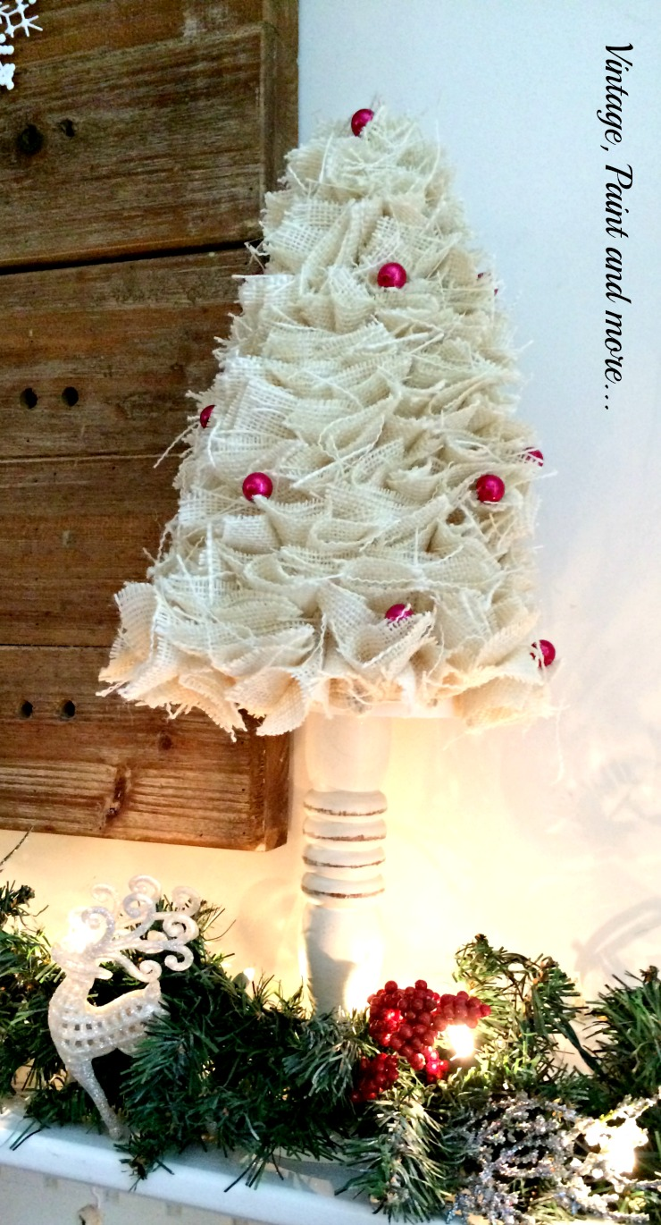 Vintage, Paint and more... burlap cone tree with red beads incorporated into a snow themed mantel