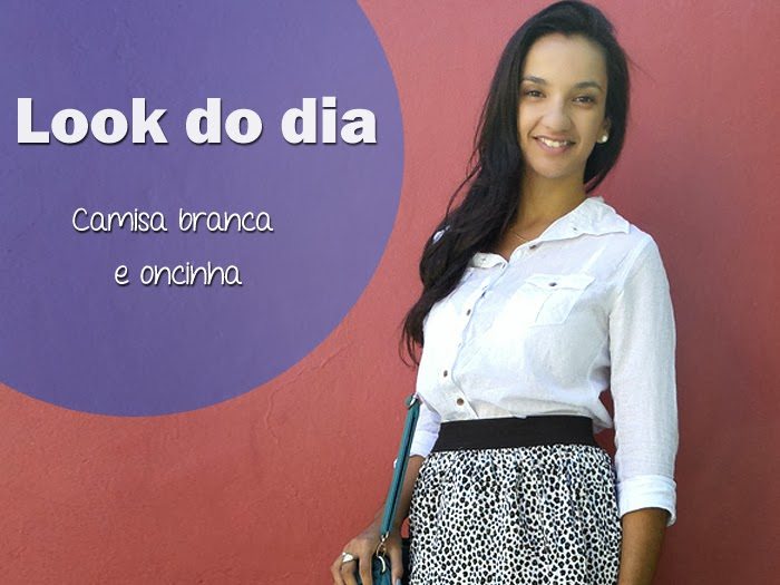 look do dia oncinha animal print saia camisa branca
