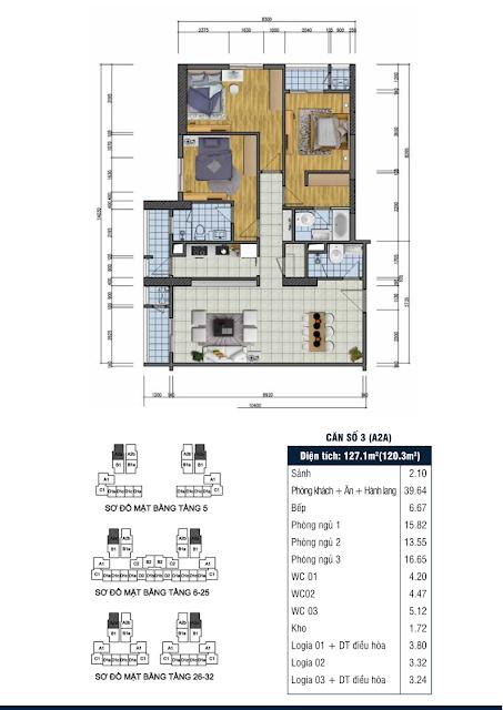 Thiết kế căn hộ số 3 - Chung cư Goldsilk Complex Vạn Phúc