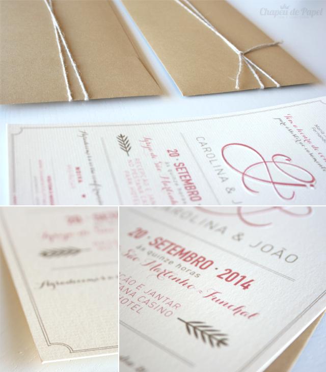 Convite de Casamento rústico e simples