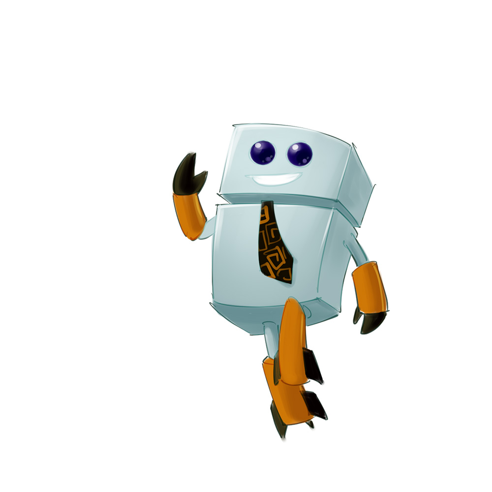cute robot mascot design