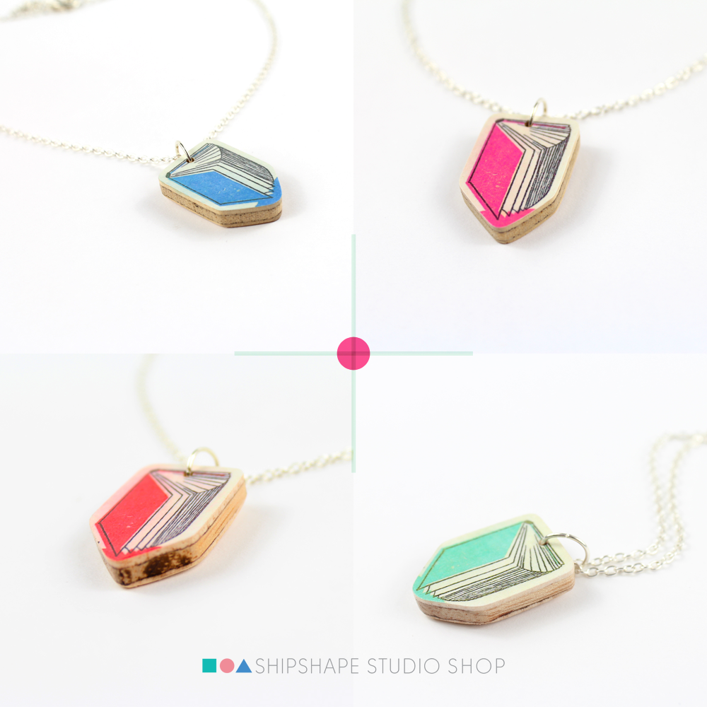 Handmade book illustration necklaces in the Shipshape Studio shop