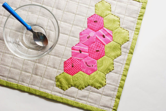 watermelon quilted placemat