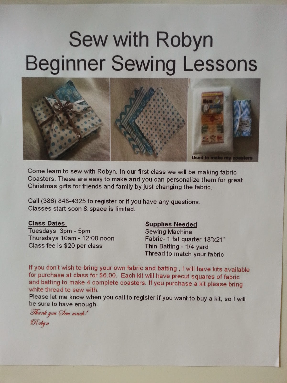 Love of sewing i am teaching beginner lessons at
