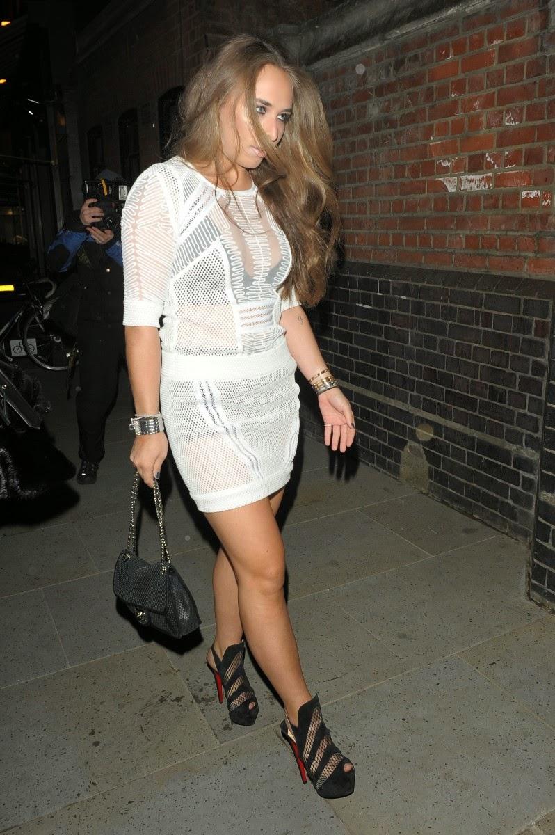 Chloe Green Innerwear Flashing in See Through Dress At London