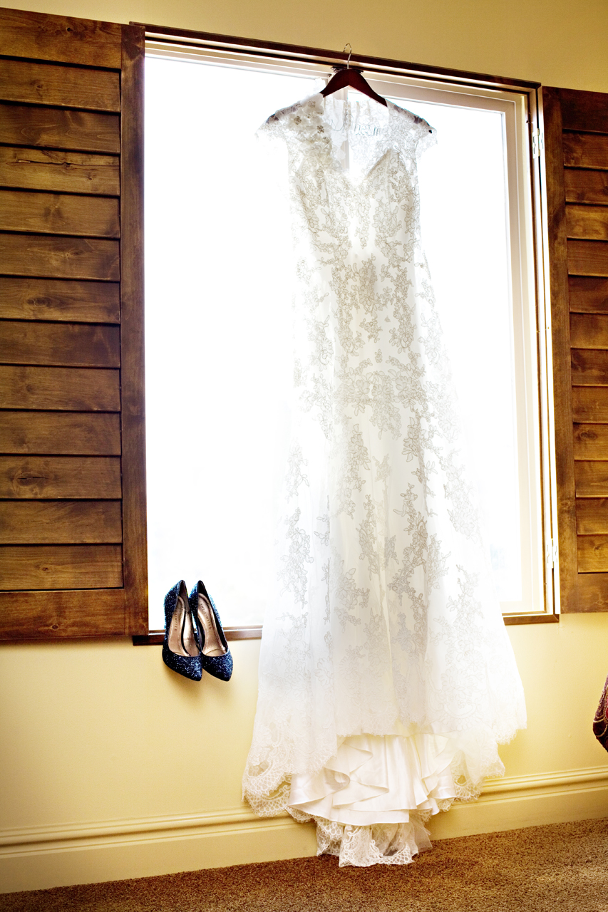 It's Because I Think Too Much - Allure 8764 Dress and The Limited Blue Glitter Pumps in Window
