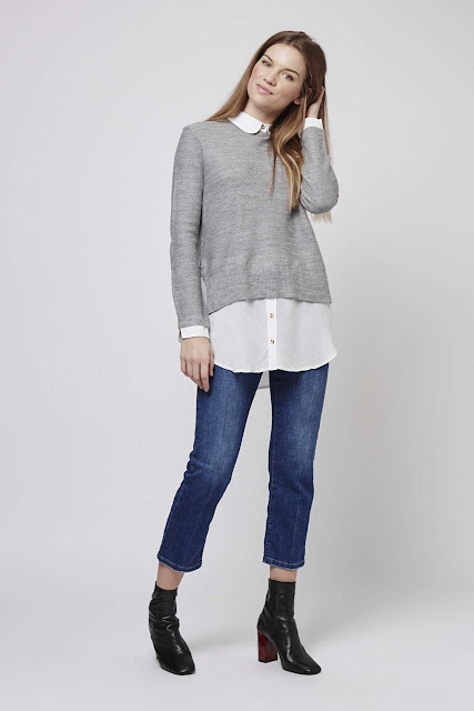 grey jumper white shirt,