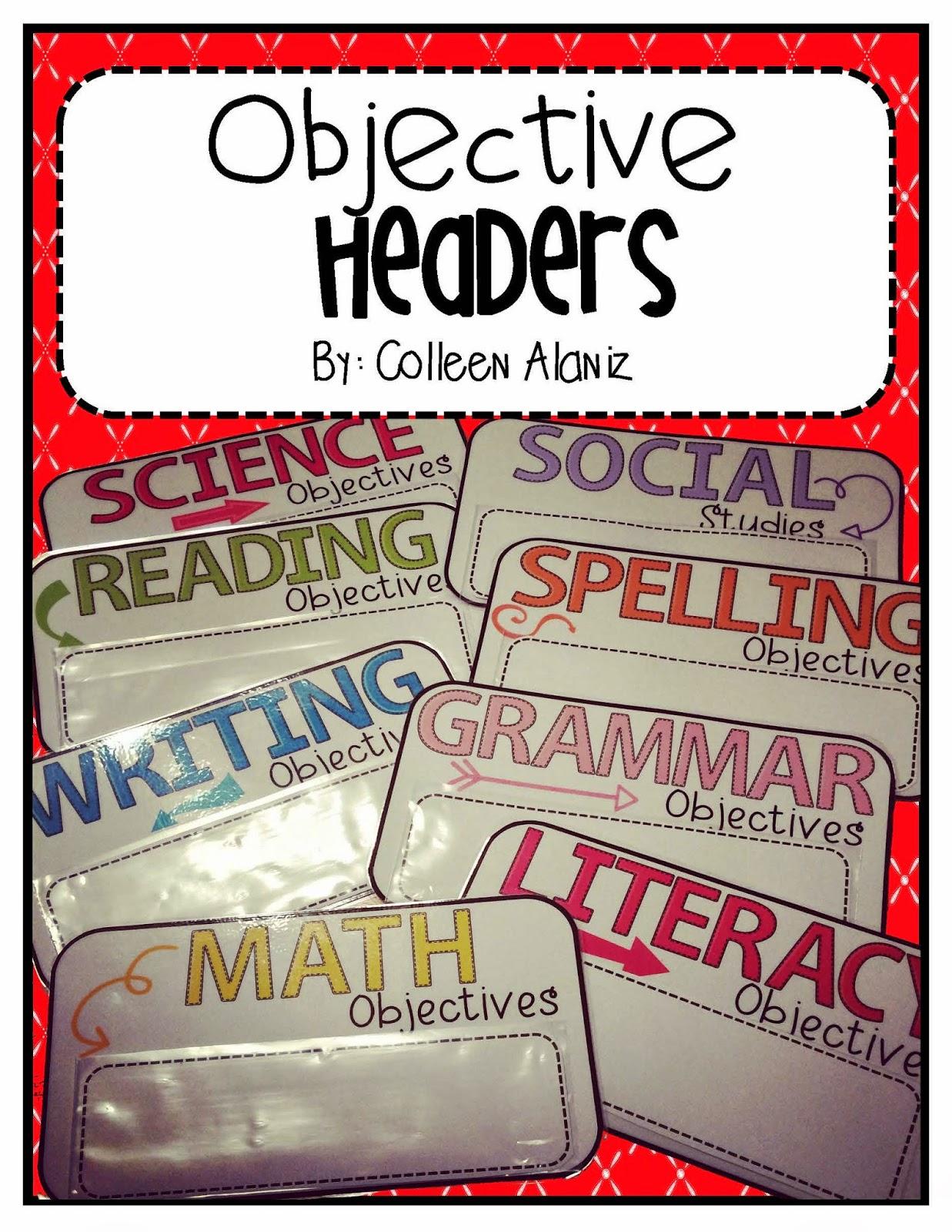 http://www.teacherspayteachers.com/Product/Objective-Headers-Color-Splash-1434125