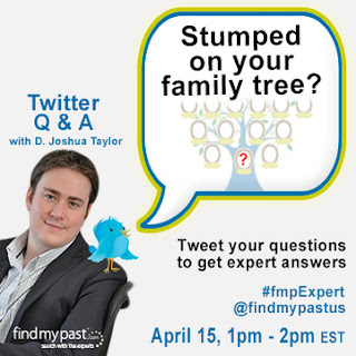 Olive Tree Genealogy Blog: Need Help? Join D. Joshua Taylor on Twitter for a LIVE Q and A
