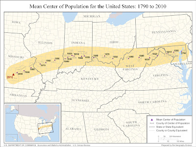 Mean Center Of Population Based On Census Data Outside The - Us population centers map