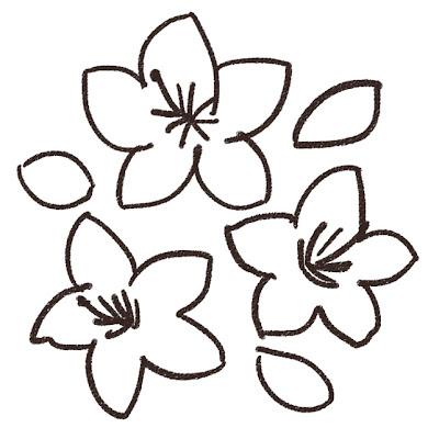 ツツジのイラスト(花) モノクロ線画