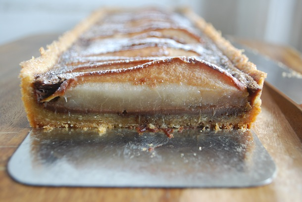 Chocolate Pear Custard Tart with Almond Shortbread Crust | Always ...