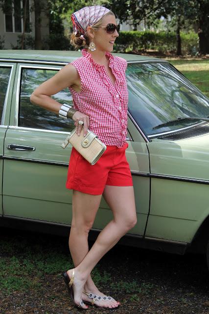 kayce hughes top and shorts, Coach clutch, fibi & clo sandals, Blinde sunglasses