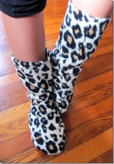 cheetah print fleece socks homemade