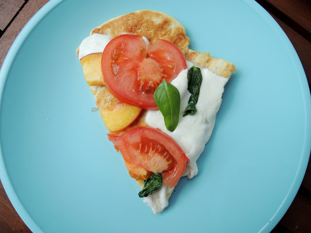 Grilled Peach Caprese Pizza