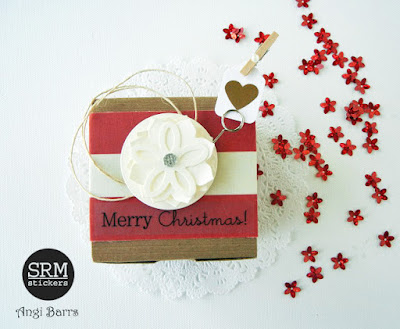 SRM Stickers Blog - Crafty Christmas Box by Angi Barrs - #kraftboxes #christmas #stickers #giftbox #DIY