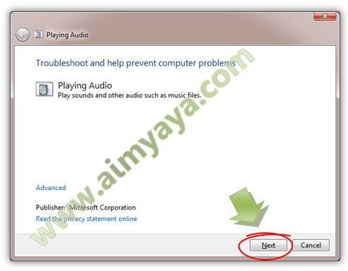 Gambar: Memulai pencarian masalah/problem pada perangkat sound/audio