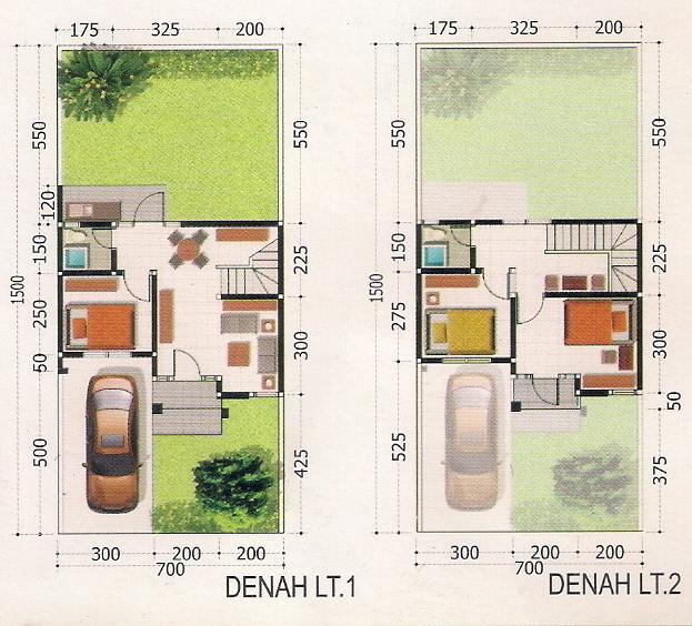 rumahku 1 contoh denah rumah minimalis type 72 105
