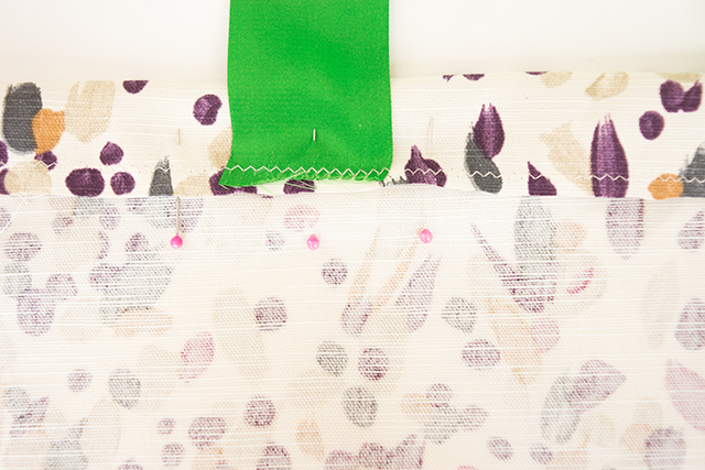 fabric folded, pinned and sewn