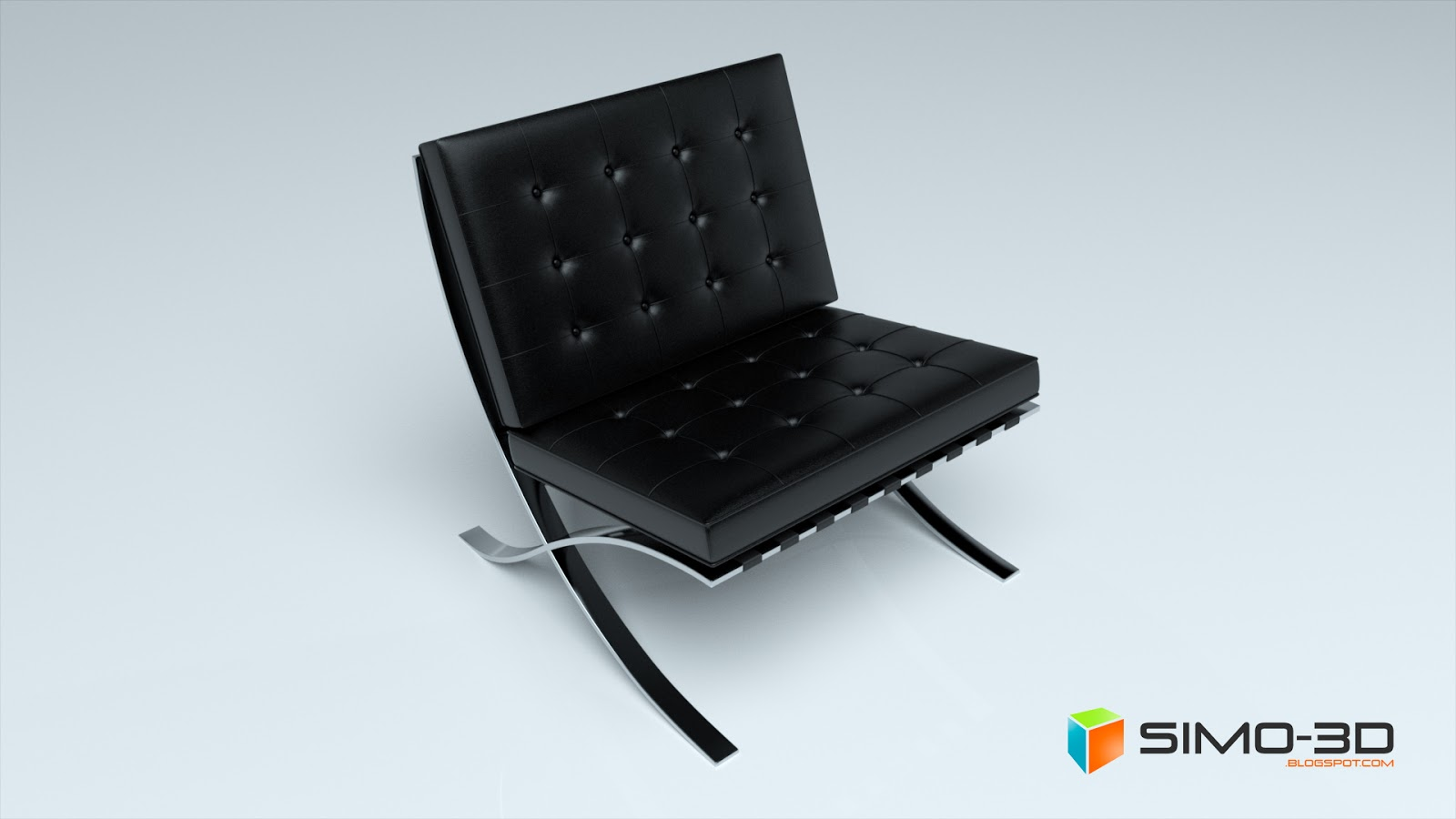 Simo render poltrona barcelona for Poltrona 3d