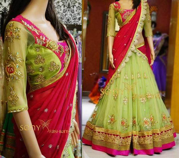 Pistachio Green Trendy Half Sari