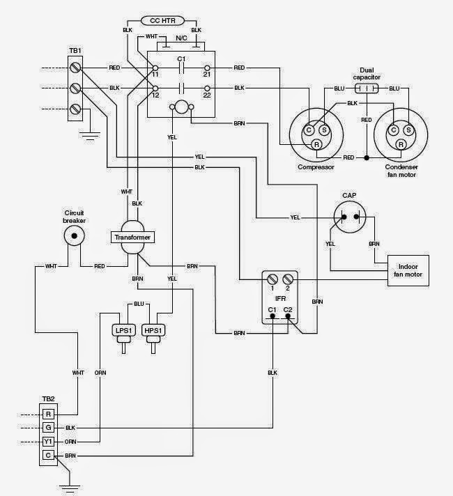 electrical wiring diagrams for air conditioning systems part one rh electrical knowhow com home air conditioning wiring diagram Basic Air Conditioner Wiring Diagram