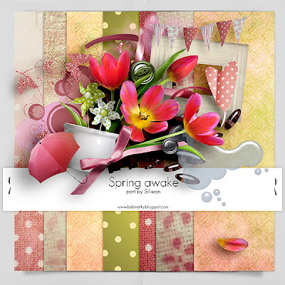 "Free scrapbook collab part ""Spring Awake"" from Sillwanin"