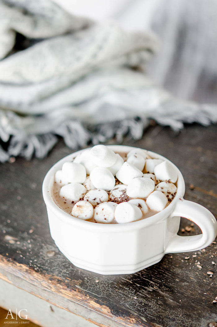 Mug of homemade hot chocolate topped with marshmallows. ||  www.andersonandgrant.com