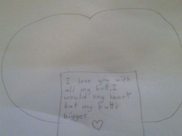 Valentine note by kids