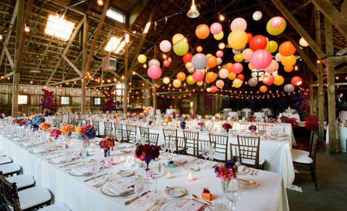 Show Me Pics Of Paper Lanterns Hanging Above Guests Tables Please