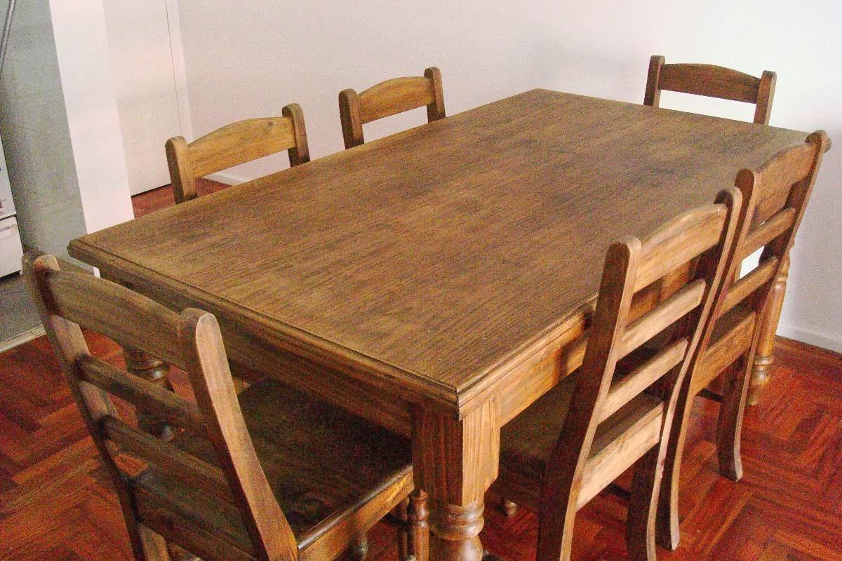Mesa de madera de pino con 6 sillas 2500 ars me venden - Pintar sillas de madera ...