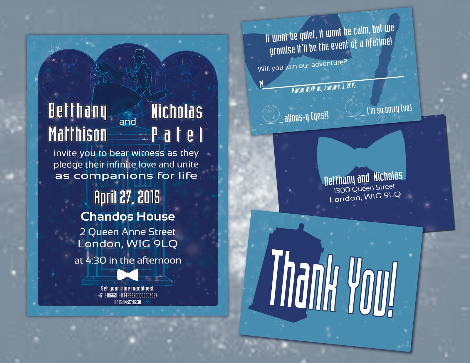 Doctor Who Wedding Invitation Set