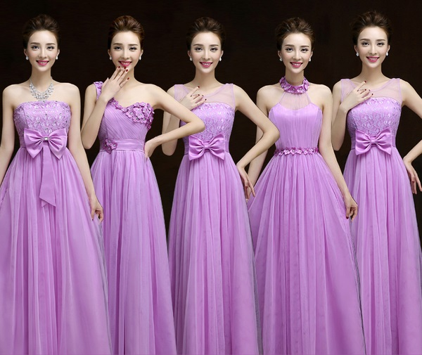 New 2016 5-Design 4-Color Elastic Bridesmaids Maxi Dress