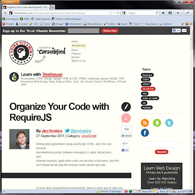 Screen shot of http://thinkvitamin.com/code/javascript/organize-your-code-with-requirejs/.