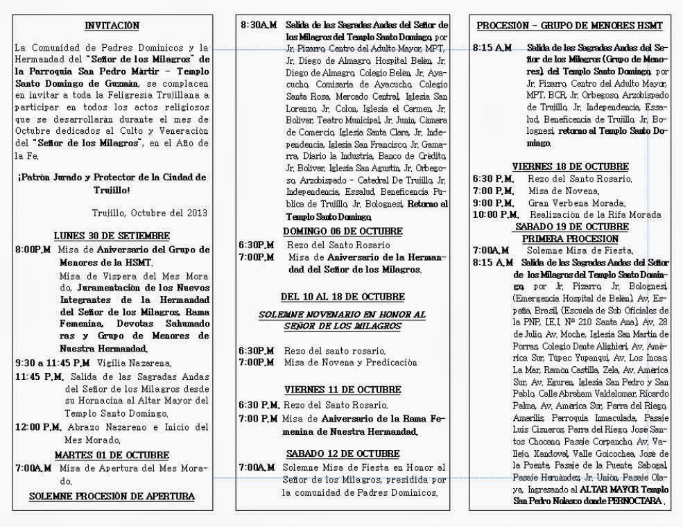PROGRAMA DE LA FESTIVIDAD DEL SEÑOR DE LOS MILAGROS DE TRUJILLO 2013