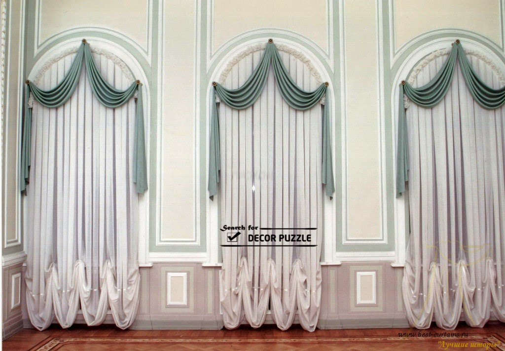 luxury French window curtains for arched window, french curtains