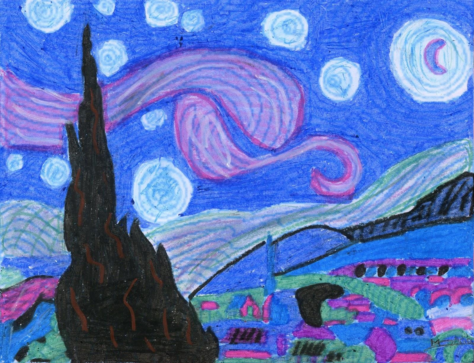 Enlerenando en pl stica pintamos a van gogh en colores - Imagenes de colores calidos ...