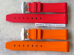 RUBBER B CAOUTCHOUC VERITABLE STRAP RED AND ORANGE 20mm FOR ROLEX GMT MASTER AND SUBMARINER
