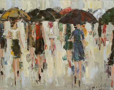 kathryntrotterart.com, kathryn trotter umbrella ladies, fashion inspired paintings,