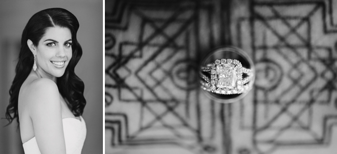 gorgeous portrait of the bride and art deco inspired ring shot